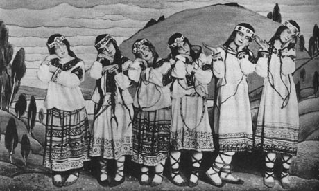 Dancers from the original Rite of Spring performance