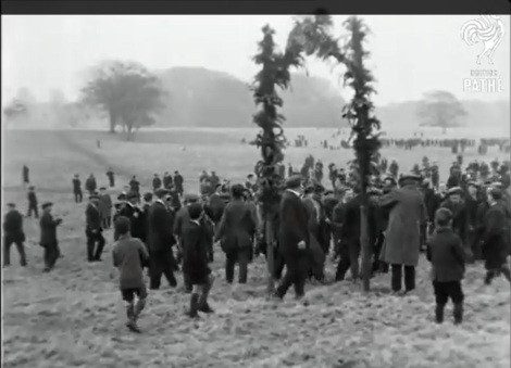 "Screenshot from British Pathé film ""200 Year Old Football. Whole Town joins in Annual Shrove Tuesday Game"" (1924)"